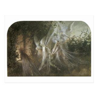 Hadas que miran a través de un arco gótico, 1864 postal