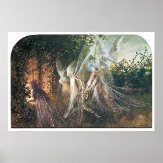 Hadas que miran a través de un arco gótico posters