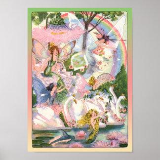 Hadas, sirenas, e impresión de los cisnes posters
