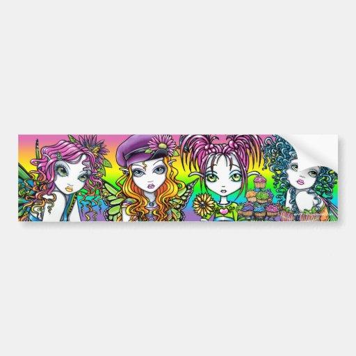 Hadas soleadas cristalinas del arco iris de la mar pegatina de parachoque