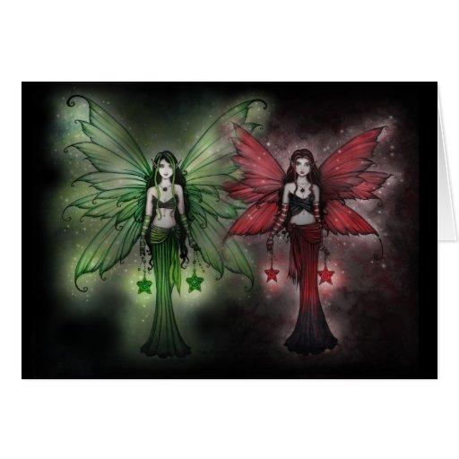 Hadas verdes y rojas de la tarjeta de Navidad