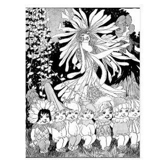 Hadas y niños de la flor del vintage postal