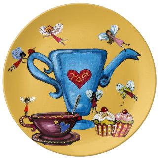 Hadas y placa de la torta de las teteras plato de cerámica