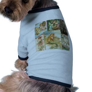 Hadas y sirenas del vintage camisetas de perro