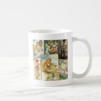 Hadas y sirenas del vintage taza de café
