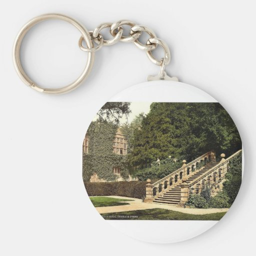 Haddon Hall, the terrace steps, Derbyshire, Englan Key Chain