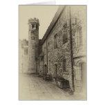 Haddon Hall tower sepia greetings card