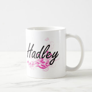 Hadley Artistic Name Design with Flowers Coffee Mug