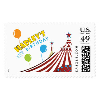 Hadley's first birthday tent postage stamps