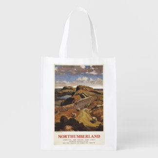 Hadrian's Wall and Sheep British Rail Poster Reusable Grocery Bags