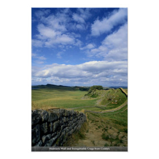 Hadrian's Wall and Swingshields Crags from Cuddy's Poster