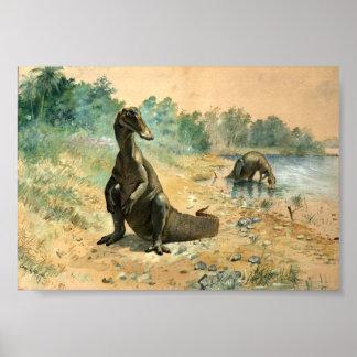 Hadrosaurs by a Lake Poster