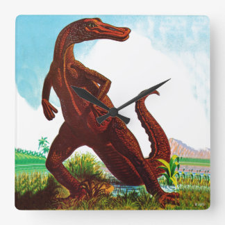 Hadrosaurus Dinosaur Square Wall Clock