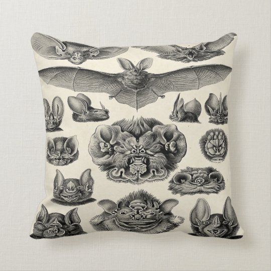 Haeckel Chiroptera Throw Pillow
