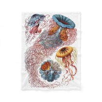 Haeckel Jellyfish Fleece Blanket