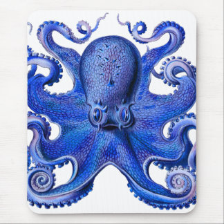Haeckel Octopus Blue Mouse Pad