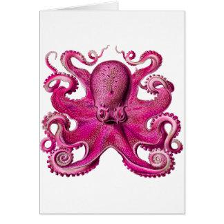 Haeckel Octopus Pink Greeting Card