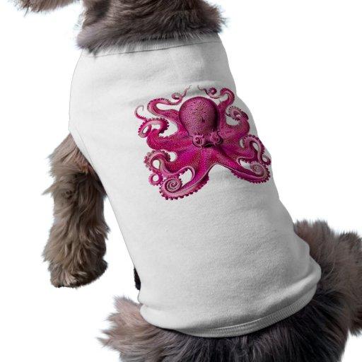 Haeckel Octopus Pink Dog T-shirt