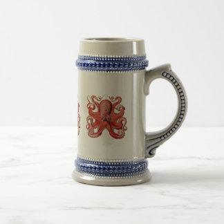 Haeckel Octopus Red Beer Stein