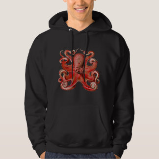 Haeckel Octopus Red Hooded Pullovers