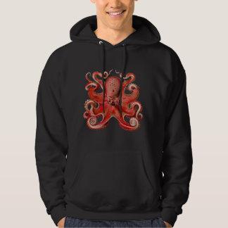 Haeckel Octopus Red Hooded Sweatshirt