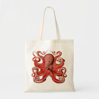 Haeckel Octopus Red Tote Bag