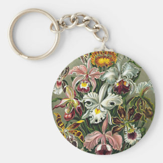 Haeckel Pink White Yellow Orchid Flowers Painting Keychain