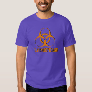 Haemophage shirt with biohazard symbol.