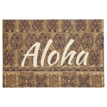 Beach Themed Haena Beach Hawaiian Primitive Tapa Aloha Brown Doormat