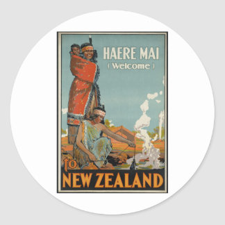 Haere Mai Welcome To New Zealand Classic Round Sticker