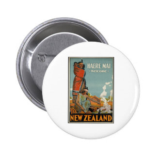 Haere Mai Welcome To New Zealand Pinback Button