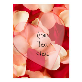 haert and rose petals plain post card