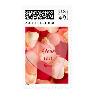 haert and rose petals plain, Yourtexthere Postage