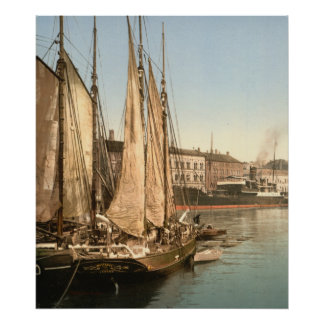 Hafenstrasse de Copenhague, Dinamarca Poster