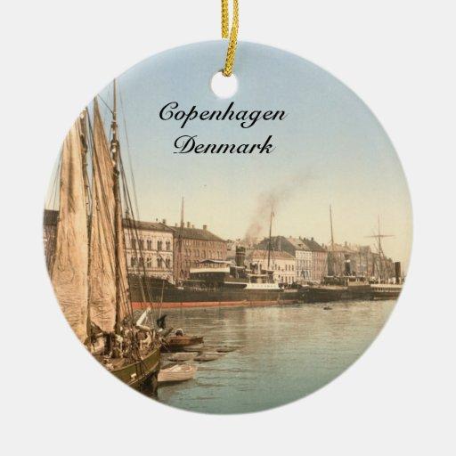 Hafenstrasse en Copenhague Adorno Navideño Redondo De Cerámica