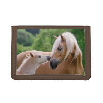 Haflinger Cute Horses Foal and Mom Cuddling Kiss - Trifold Wallet