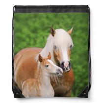 Haflinger Horse Cute Baby Foal Kiss Mum Pony Photo Drawstring Bag
