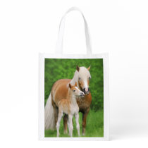 Haflinger Horse Cute Baby Foal Kiss Mum Pony Photo Grocery Bag