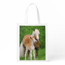 Haflinger Horse Cute Baby Foal Kiss Mum Pony Photo Grocery Bag