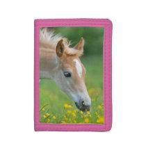 Haflinger Horse Cute Foal Flowers Portrait, Purse Trifold Wallet