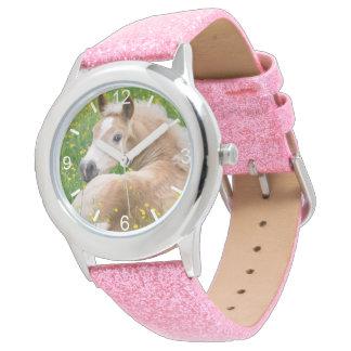 Haflinger Horse Cute Foal in Flowerbed  dial-plate Wrist Watch