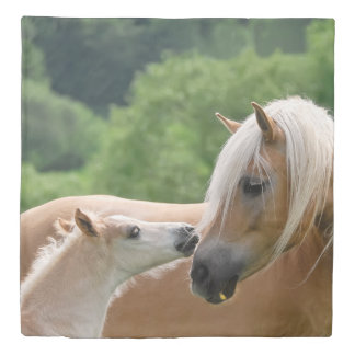 Haflinger Horse Foal and Mare Cuddle Photo Bedding Duvet Cover