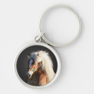 Haflinger Horse with beautiful mane Silver-Colored Round Keychain