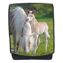 Haflinger Horses Cute Baby Foal With Mum Photo // Backpack