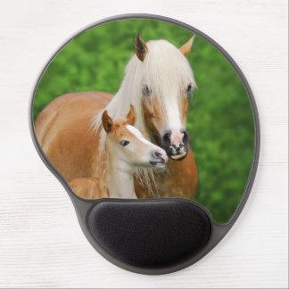 Haflinger Horses Cute Foal Kiss Mum - ergonomic Gel Mouse Pad