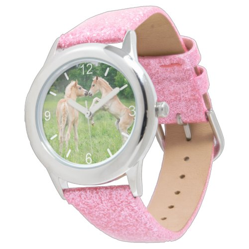 Haflinger Horses Cute Foals Funny Photo dial-plate Watch