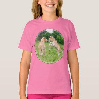 Haflinger Horses Cute Foals Rearing Funny - girl T-Shirt