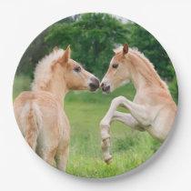 Haflinger Horses Cute Foals Rearing, Happy Party Paper Plate