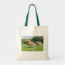 Haflinger Horses Cute Foals Run Funny Animal Photo Tote Bag