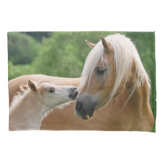 Haflinger Horses Foal and Mare Cuddle Pillow-Cover Pillowcase